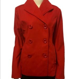 Rampage Red Double Breasted Pea Coat Acrylic L